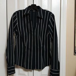 Kenneth Cole black and white striped shirt